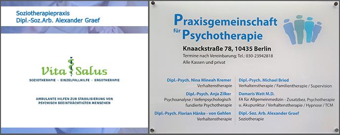 EIngangsschild Praxisgemeinschaft Psychotherapie & Soziotherapie, Knaackstraße 78, 10435 Berlin
